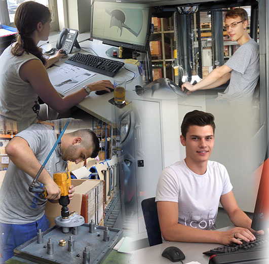 Trial apprentices for the following professions: Business person EFZ, designer EFZ, polymechanic EFZ, production mechanic EFZ, logistician EFZ, electronics engineer EFZ