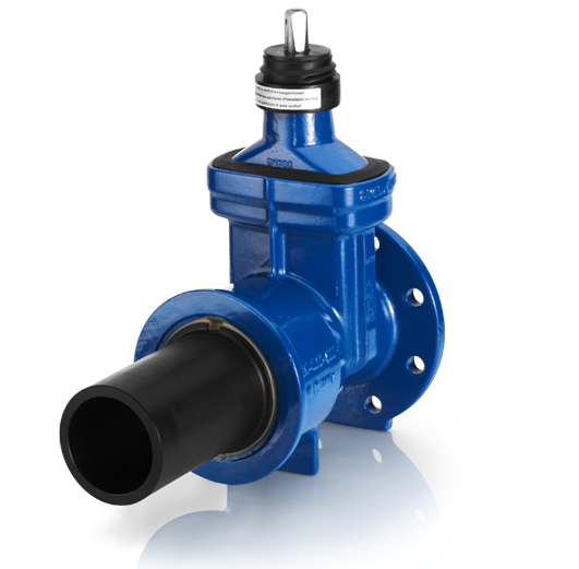 Shut-off valves, gate valves with flange and PE spigot end